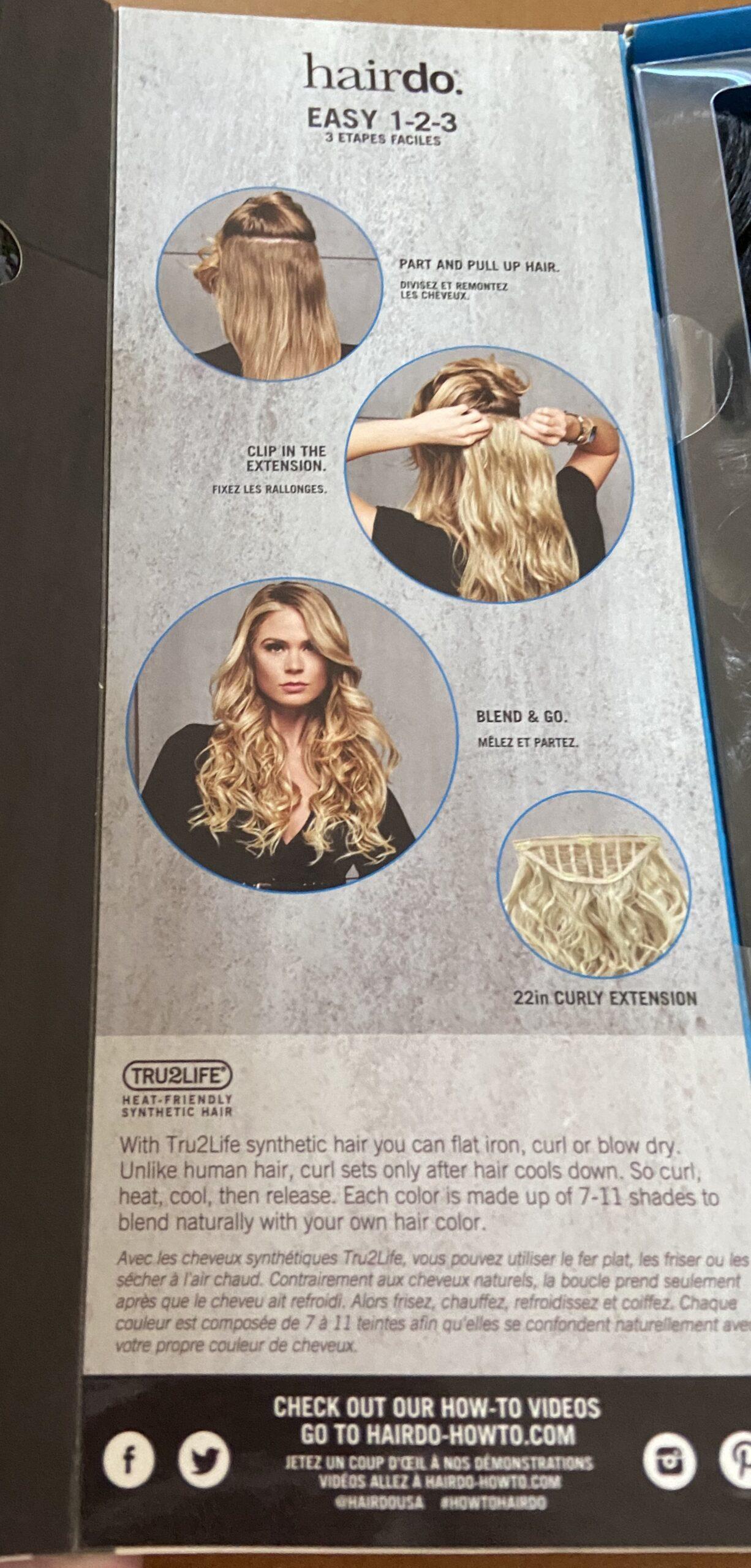 Mit Tru2Life-Kunsthaar können Sie flach bügeln, locken oder föhnen. Im Gegensatz zu menschlichem Haar setzt die Locke erst nach dem Abkühlen des Haares ein. Also kräuseln, erhitzen, abkühlen lassen und dann loslassen. Jede Farbe besteht aus 7 - 11 Farbtönen, die sich auf natürliche Weise in Ihre eigene Haarfarbe einfügen.
